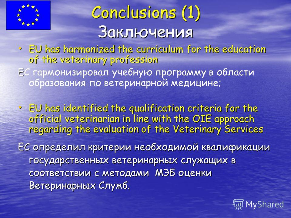 Conclusions (1) Заключения EU has harmonized the curriculum for the education of the veterinary profession EU has harmonized the curriculum for the education of the veterinary profession E EС гармонизировал учебную программу в области образования по