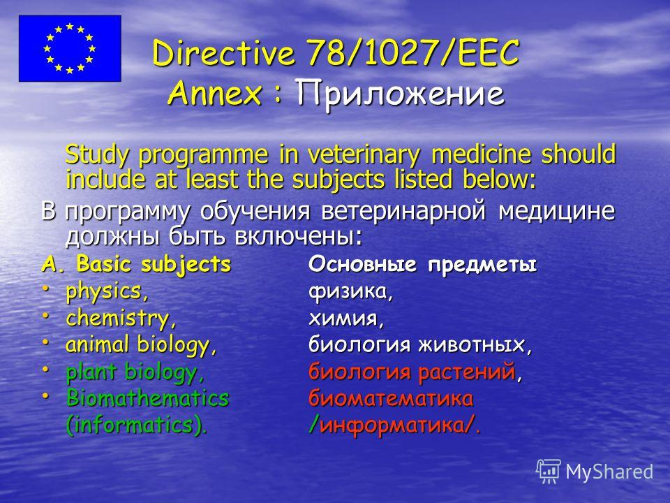 Directive 78/1027/EEC Annex : Приложение Study programme in veterinary medicine should include at least the subjects listed below: Study programme in veterinary medicine should include at least the subjects listed below: В программу обучения ветерина