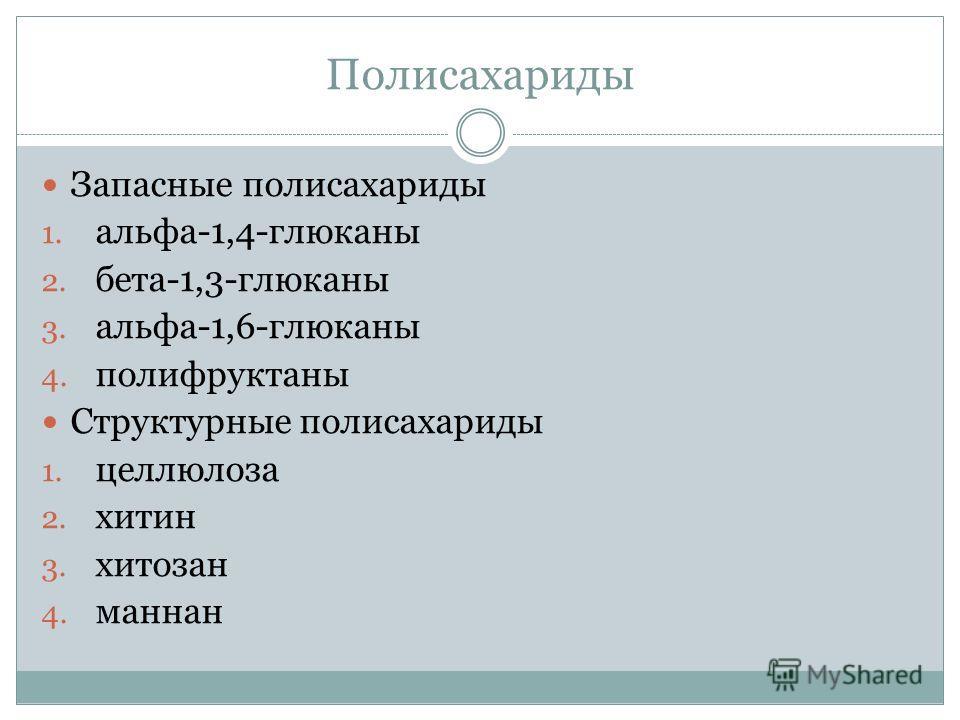Полисахариды Запасные полисахариды 1. альфа-1,4-глюканы 2. бета-1,3-глюканы 3. альфа-1,6-глюканы 4. полифруктаны Структурные полисахариды 1. целлюлоза 2. хитин 3. хитозан 4. маннан