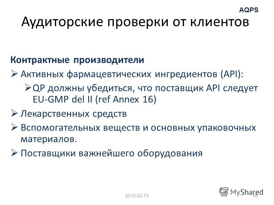 AQPS Аудиторские проверки от клиентов Контрактные производители Активных фармацевтических ингредиентов (API): QP должны убедиться, что поставщик API следует EU-GMP del II (ref Annex 16) Лекарственных средств Вспомогательных веществ и основных упаково