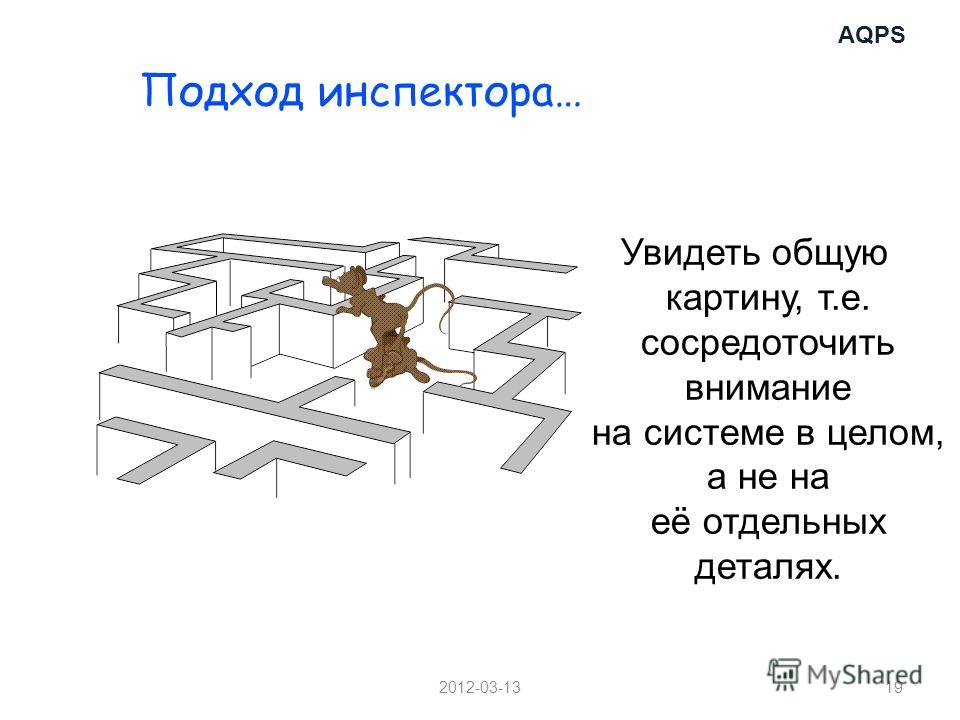 AQPS 2012-03-1319 Подход инспектора… Увидеть общую картину, т.е. сосредоточить внимание на системе в целом, а не на её отдельных деталях.