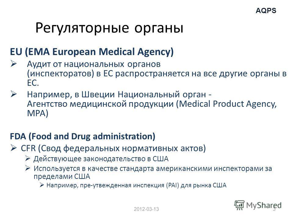 AQPS Регуляторные органы EU (EMA European Medical Agency) Аудит от национальных органов (инспекторатов) в ЕС распространяется на все другие органы в ЕС. Например, в Швеции Национальный орган - Агентство медицинской продукции (Medical Product Agency,