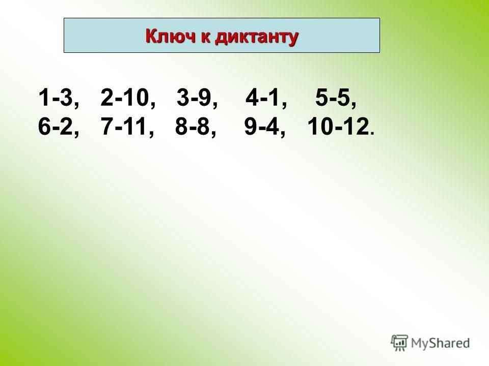 1-3, 2-10, 3-9, 4-1, 5-5, 6-2, 7-11, 8-8, 9-4, 10-12. Ключ к диктанту