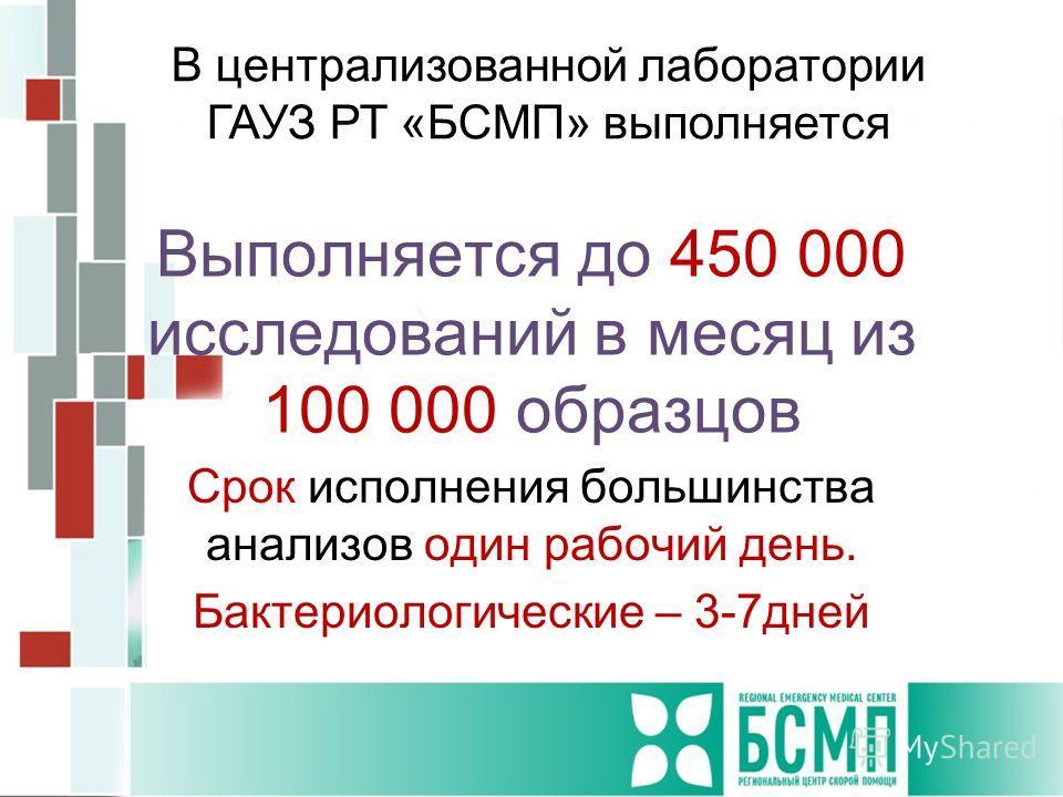 Выполняется до 450 000 исследований в месяц из 100 000 образцов Срок исполнения большинства анализов один рабочий день. Бактериологические – 3-7дней В централизованной лаборатории ГАУЗ РТ «БСМП» выполняется