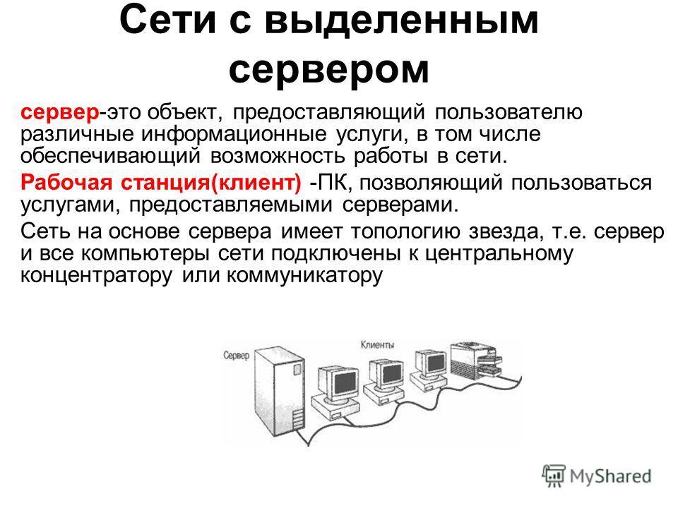 Сети с выделенным сервером сервер-это объект, предоставляющий пользователю различные информационные услуги, в том числе обеспечивающий возможность работы в сети. Рабочая станция(клиент) -ПК, позволяющий пользоваться услугами, предоставляемыми сервера