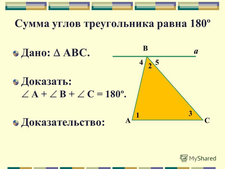 Гипотеза Сумма углов треугольника равна 180º.