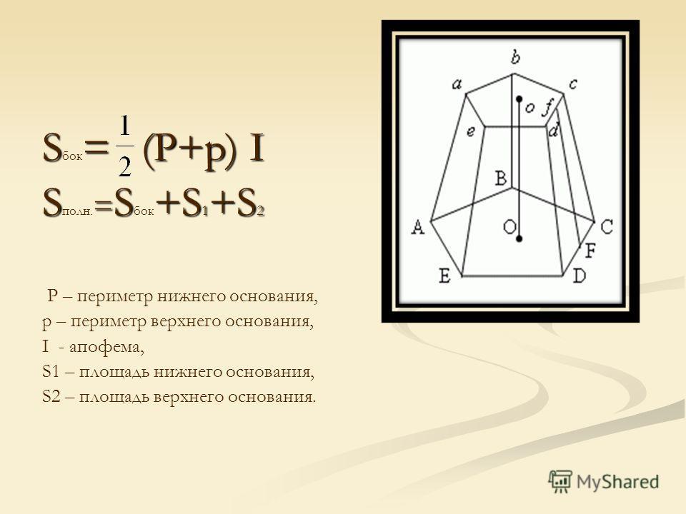 S= (P+p) I S бок = (P+p) I S = S+S 1 +S 2 S полн. = S бок +S 1 +S 2 P – периметр нижнего основания, р – периметр верхнего основания, I - апофема, S1 – площадь нижнего основания, S2 – площадь верхнего основания.