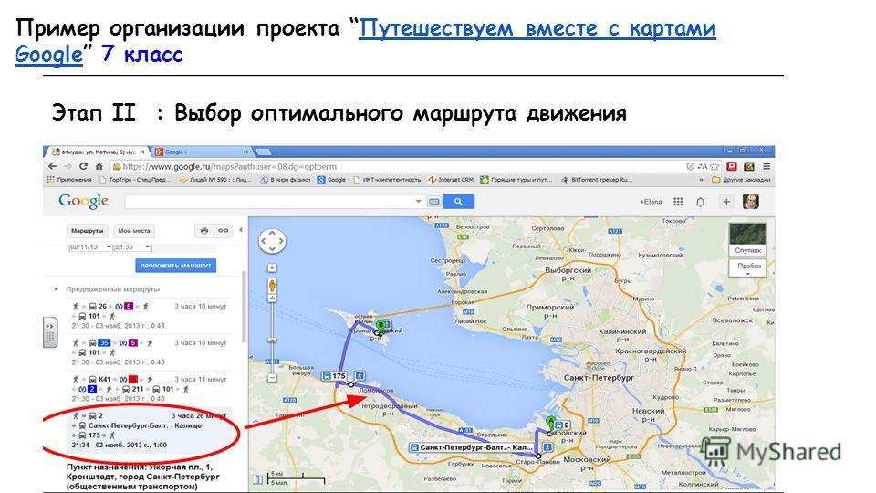 Пример организации проекта Путешествуем вместе с картами Google 7 класс Путешествуем вместе с картами Google Этап II : Выбор оптимального маршрута движения