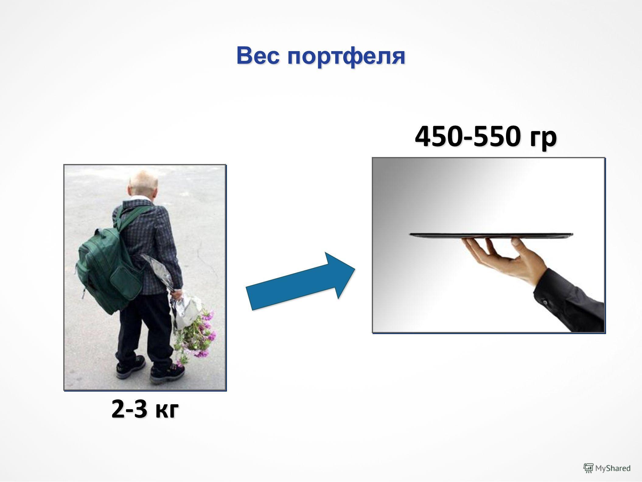 Вес портфеля 2-3 кг 450-550 гр