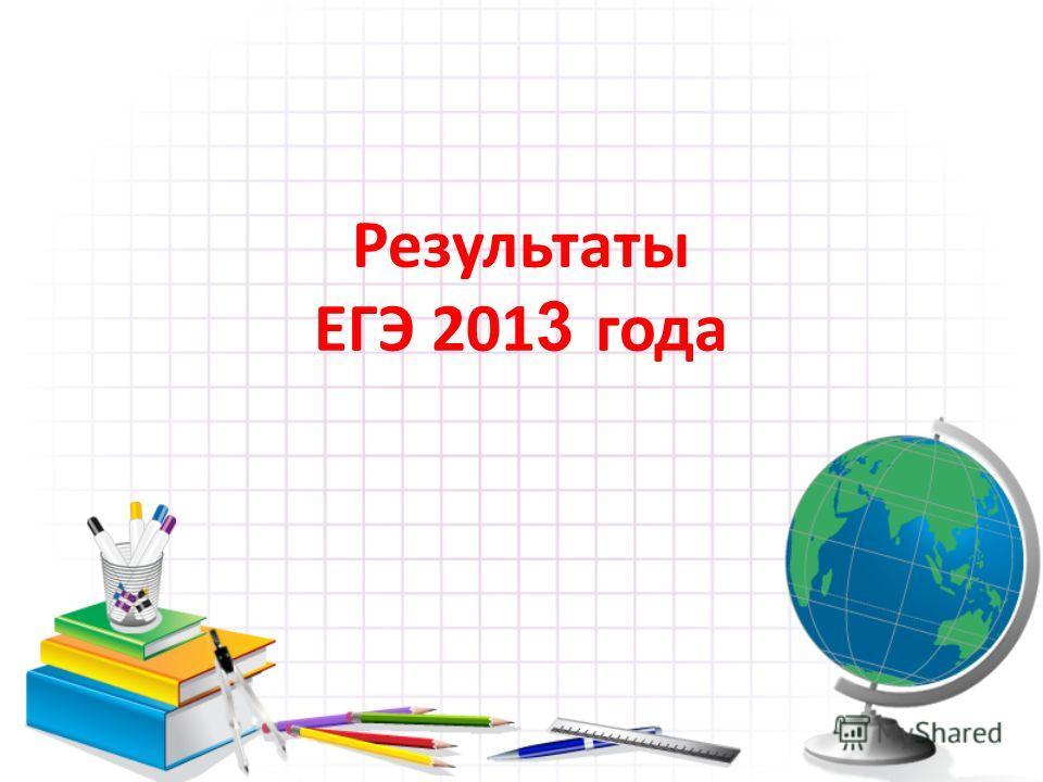 Результаты ЕГЭ 201 3 года
