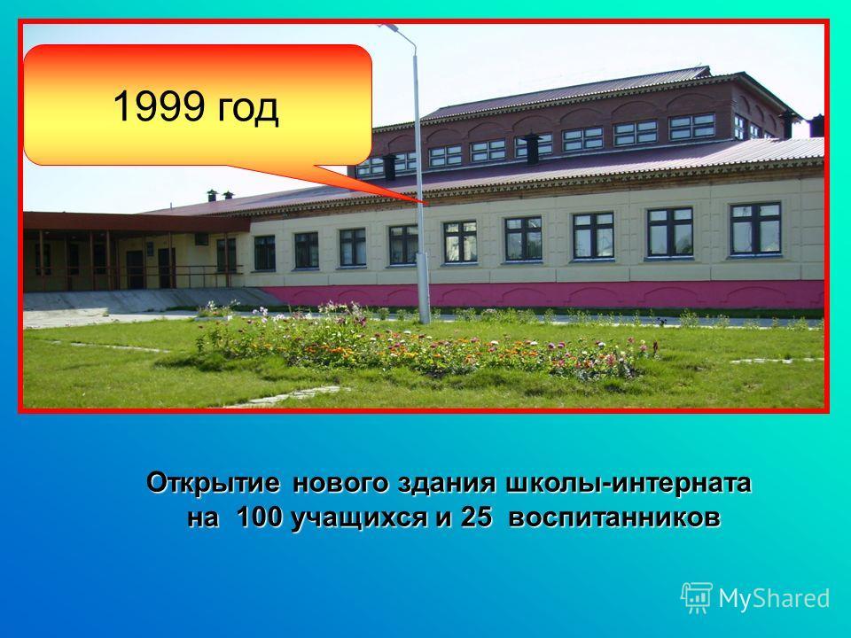 1999 год Открытие нового здания школы-интерната на 100 учащихся и 25 воспитанников