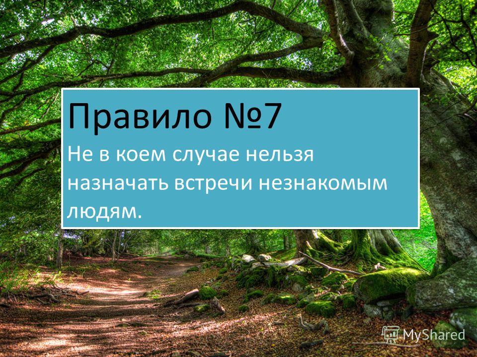 Правило 7 Не в коем случае нельзя назначать встречи незнакомым людям. Правило 7 Не в коем случае нельзя назначать встречи незнакомым людям.
