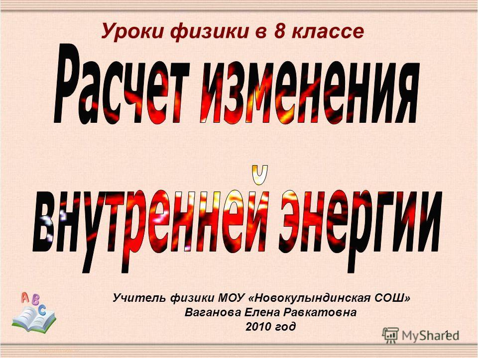 1 Учитель физики МОУ «Новокулындинская СОШ» Ваганова Елена Равкатовна 2010 год Уроки физики в 8 классе