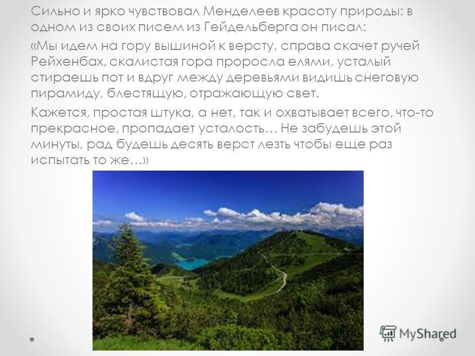Сильно и ярко чувствовал Менделеев красоту природы: в одном из своих писем из Гейдельберга он писал: «Мы идем на гору вышиной к версту, справа скачет ручей Рейхенбах, скалистая гора проросла елями, усталый стираешь пот и вдруг между деревьями видишь