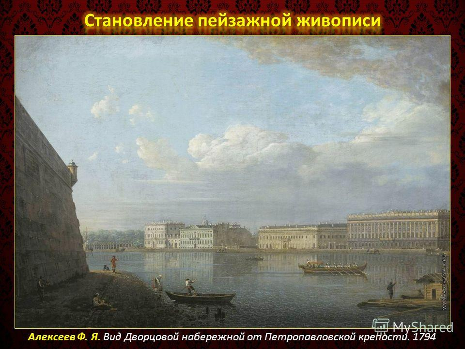 Алексеев Ф. Я. Вид Дворцовой набережной от Петропавловской крепости. 1794