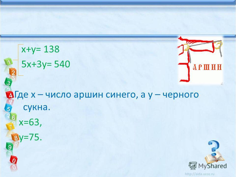 х+у= 138 5 х+3 у= 540 Где х – число аршин синего, а у – черного сукна. х=63, у=75.