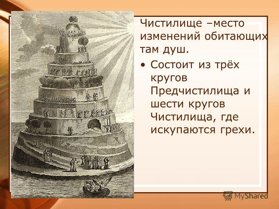 Чистилище –место изменений обитающих там душ. Состоит из трёх кругов Предчистилища и шести кругов Чистилища, где искупаются грехи.