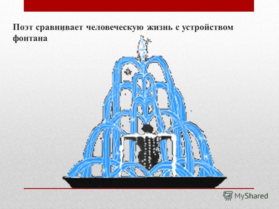 Поэт сравнивает человеческую жизнь с устройством фонтана
