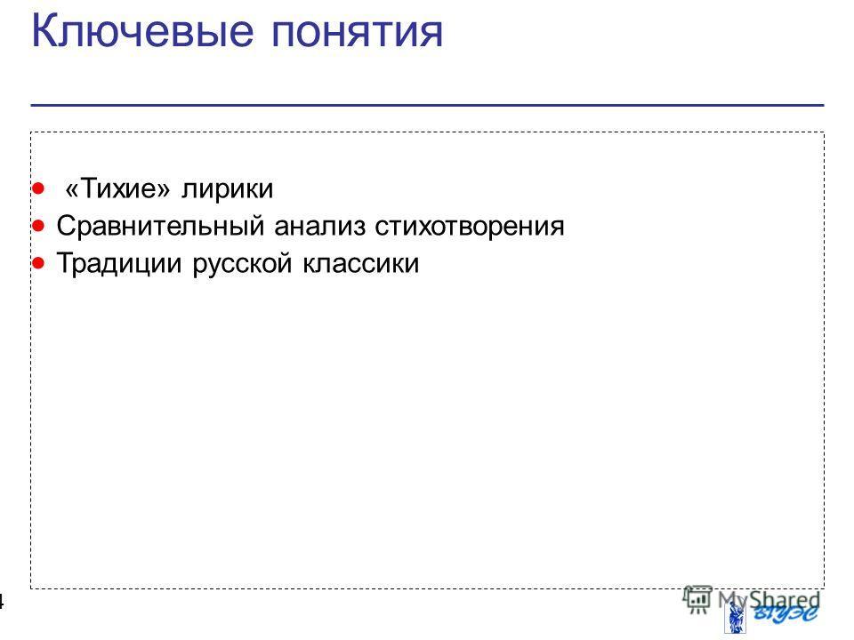 Ключевые понятия 4 «Тихие» лирики Сравнительный анализ стихотворения Традиции русской классики