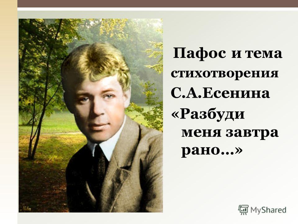 стихотворения С.А.Есенина «Разбуди меня завтра рано…» Пафостемаи