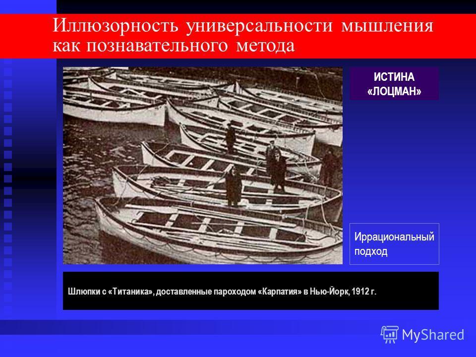 Иллюзорность универсальности мышления как познавательного метода Шлюпки с «Титаника», доставленные пароходом «Карпатия» в Нью-Йорк, 1912 г. ИСТИНА «ЛОЦМАН» Иррациональный подход