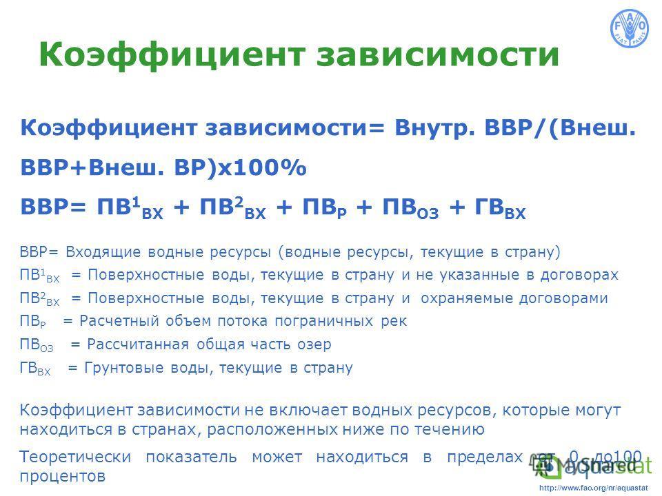 http://www.fao.org/nr/aquastat Коэффициент зависимости Коэффициент зависимости= Внутр. ВВР/(Внеш. ВВР+Внеш. ВР)x100% ВВР= ПВ 1 ВХ + ПВ 2 ВХ + ПВ Р + ПВ ОЗ + ГВ ВХ ВВР= Входящие водные ресурсы (водные ресурсы, текущие в страну) ПВ 1 ВХ = Поверхностные