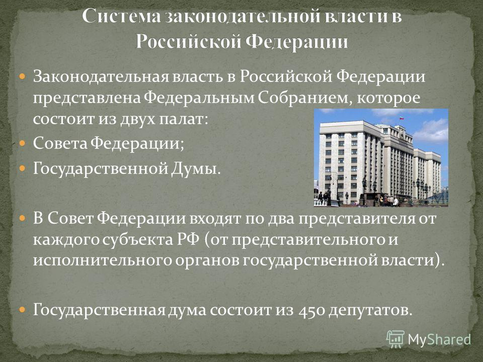 Законодательная власть в Российской Федерации представлена Федеральным Собранием, которое состоит из двух палат: Совета Федерации; Государственной Думы. В Совет Федерации входят по два представителя от каждого субъекта РФ (от представительного и испо