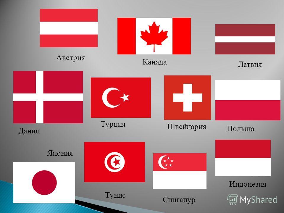 Польша Канада Япония Дания Австрия Швейцария Индонезия Турция Тунис Сингапур Латвия