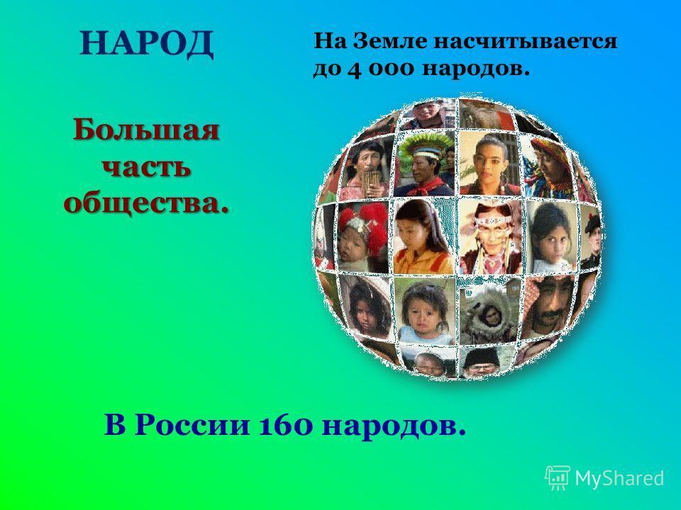 НАРОД Большая часть общества. На Земле насчитывается до 4 000 народов. В России 160 народов.
