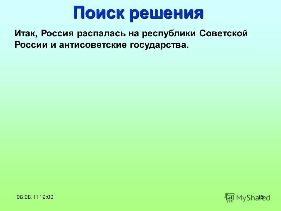 15 Поиск решения Итак, Россия распалась на республики Советской России и антисоветские государства. 08.08.11 19:00