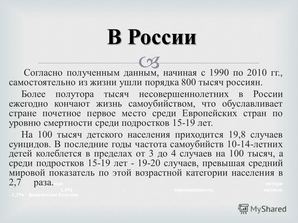 Согласно полученным данным, начиная с 1990 по 2010 гг., самостоятельно из жизни ушли порядка 800 тысяч россиян. Более полутора тысяч несовершеннолетних в России ежегодно кончают жизнь самоубийством, что обуславливает стране почетное первое место сред