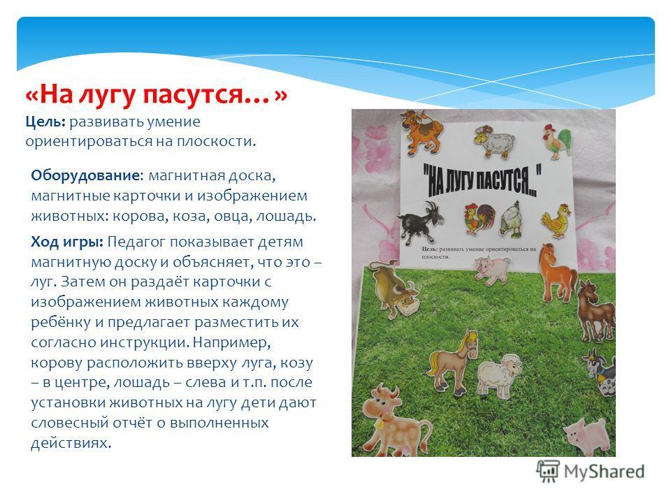 Оборудование: магнитная доска, магнитные карточки и изображением животных: корова, коза, овца, лошадь. Ход игры: Педагог показывает детям магнитную доску и объясняет, что это – луг. Затем он раздаёт карточки с изображением животных каждому ребёнку и