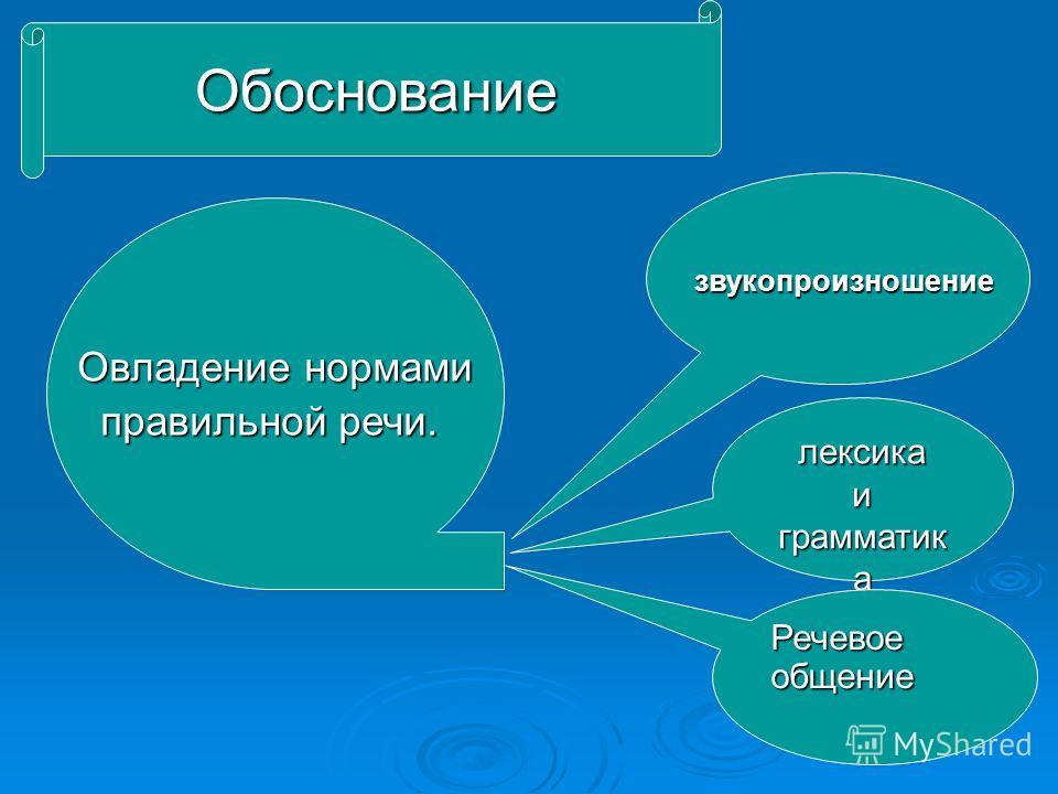 Обоснование Овладение нормами правильной речи. лексика и грамматик а Речевое общение звукопроизношение