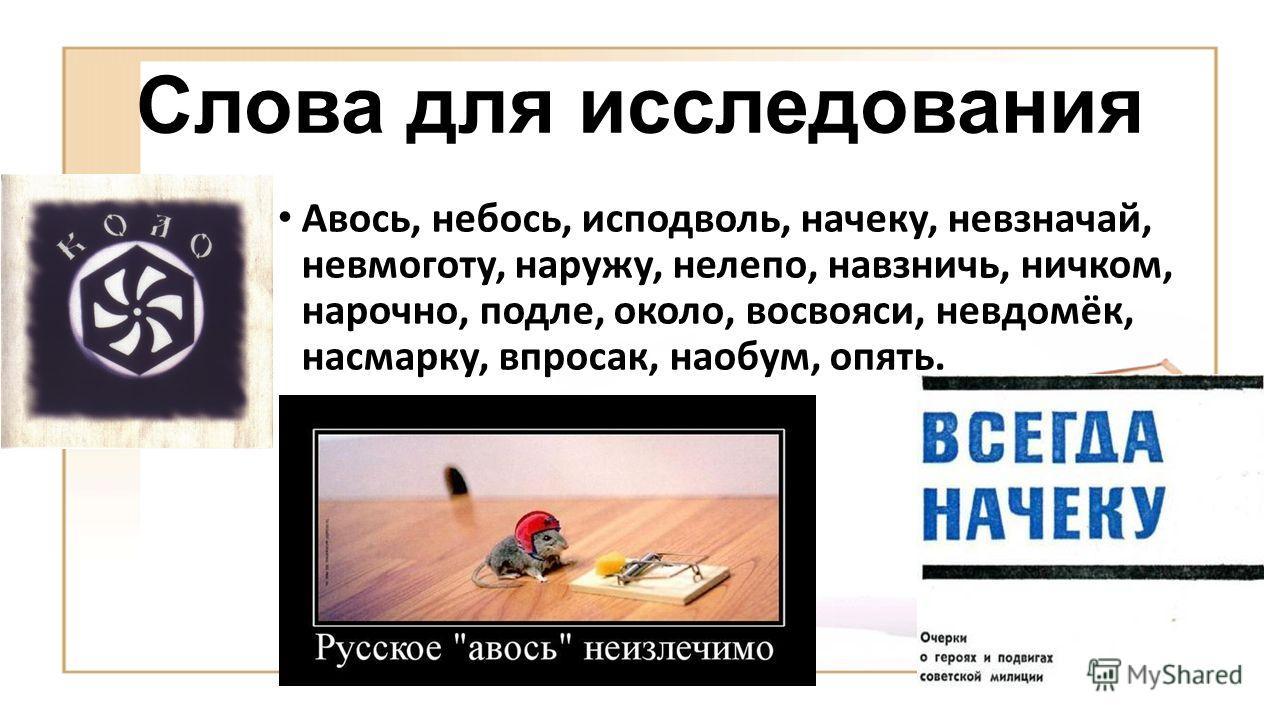 Слова для исследования Авось, небось, исподволь, начеку, невзначай, невмоготу, наружу, нелепо, навзничь, ничком, нарочно, подле, около, восвояси, невдомёк, насмарку, впросак, наобум, опять.