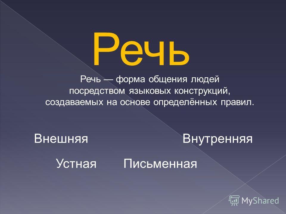 Речь Речь форма общения людей посредством языковых конструкций, создаваемых на основе определённых правил. Устная Письменная Внешняя Внутренняя