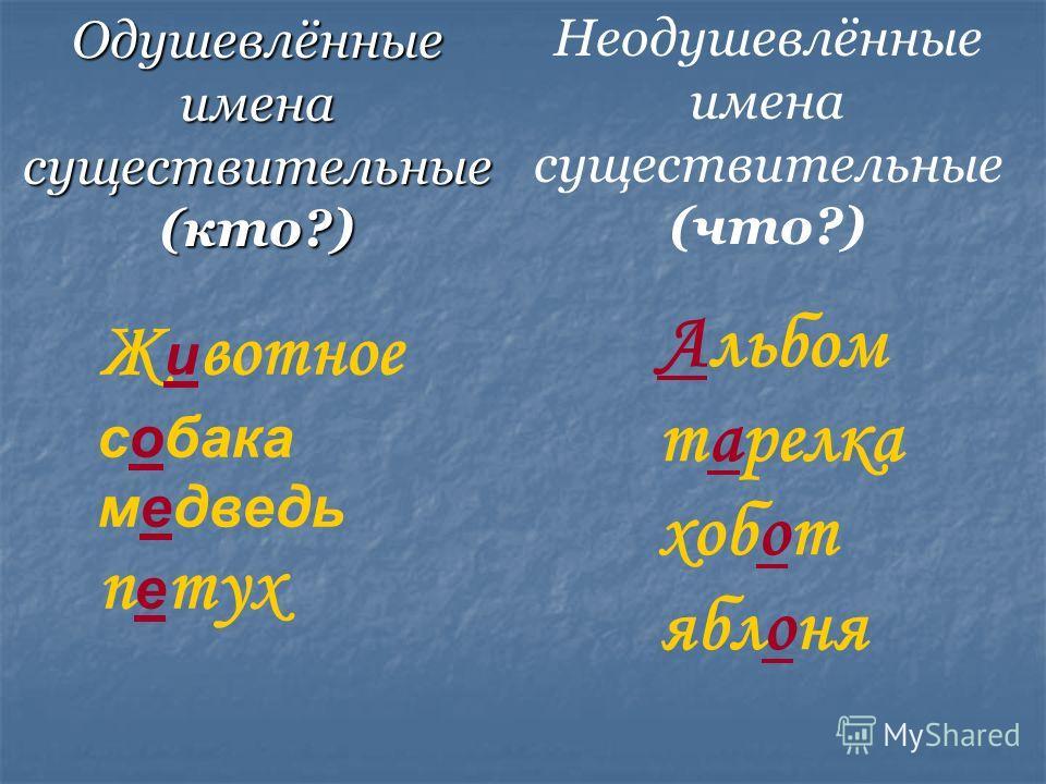 Одушевлённые имена существительные (кто?) Ж - вотное с- бака м- дведь п - тух -льбом т-релка хоб-т ябл-ня Неодушевлённые имена существительные (что?)