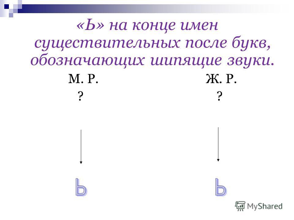 «Ь» на конце имен существительных после букв, обозначающих шипящие звуки. М. Р. Ж. Р. ? ?