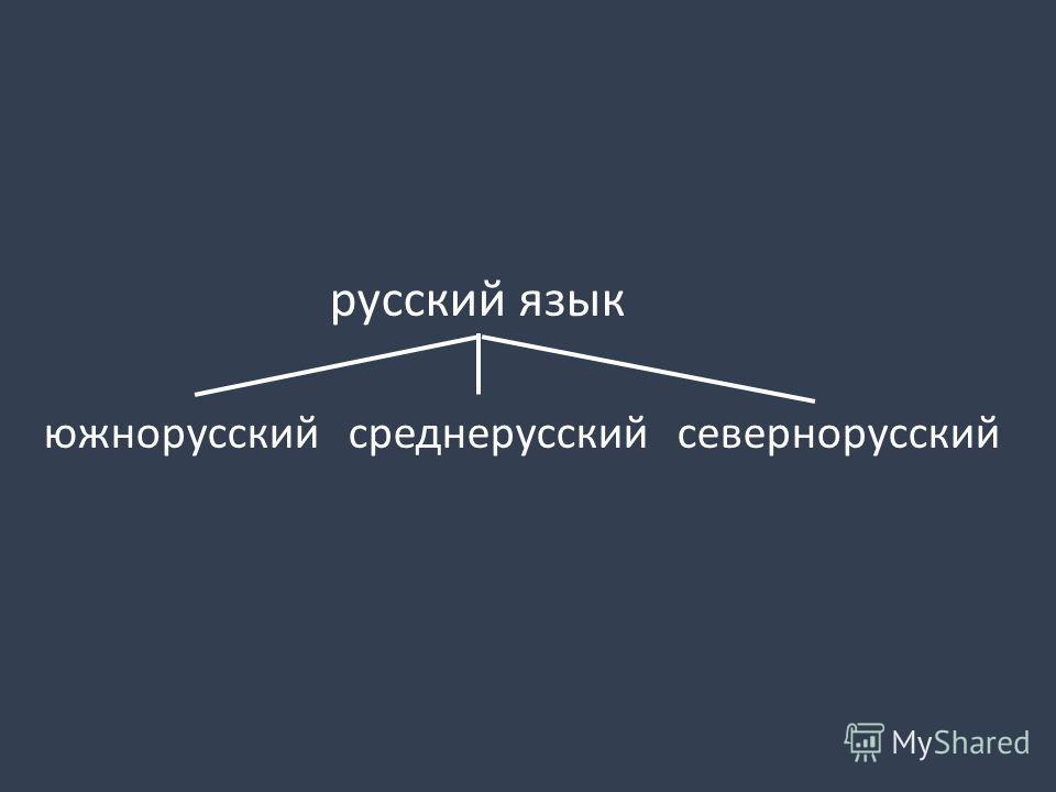 русский язык южнорусский среднерусский севернорусский