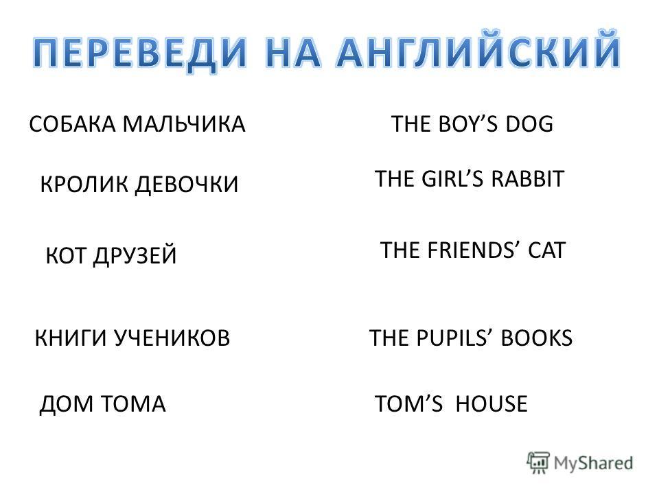 СОБАКА МАЛЬЧИКАTHE BOYS DOG КРОЛИК ДЕВОЧКИ THE GIRLS RABBIT КОТ ДРУЗЕЙ THE FRIENDS CAT КНИГИ УЧЕНИКОВTHE PUPILS BOOKS ДОМ ТОМАTOMS HOUSE