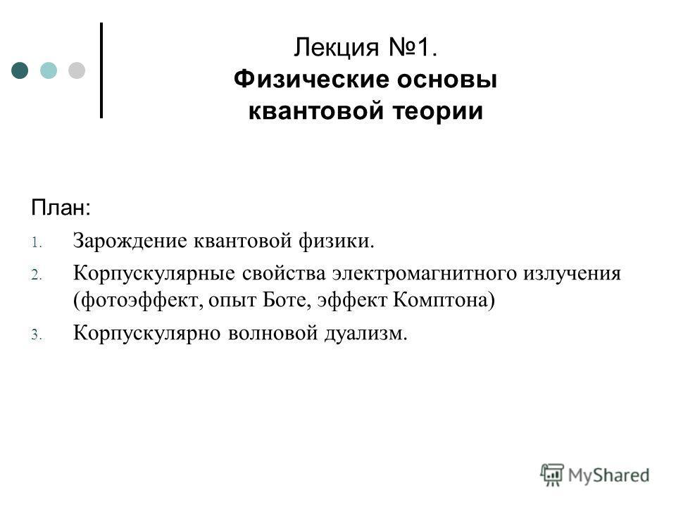 Лекция 1. Физические основы квантовой теории План: 1. Зарождение квантовой физики. 2. Корпускулярные свойства электромагнитного излучения (фотоэффект, опыт Боте, эффект Комптона) 3. Корпускулярно волновой дуализм.
