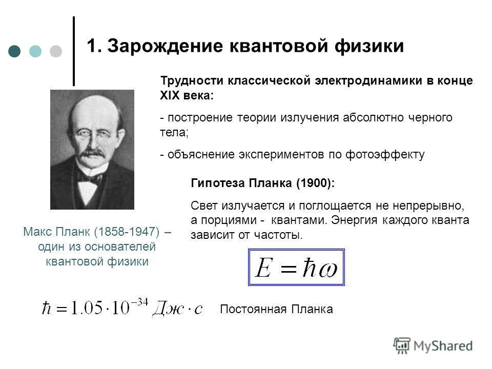 1. Зарождение квантовой физики Макс Планк (1858-1947) – один из основателей квантовой физики Трудности классической электродинамики в конце XIX века: - построение теории излучения абсолютно черного тела; - объяснение экспериментов по фотоэффекту Гипо