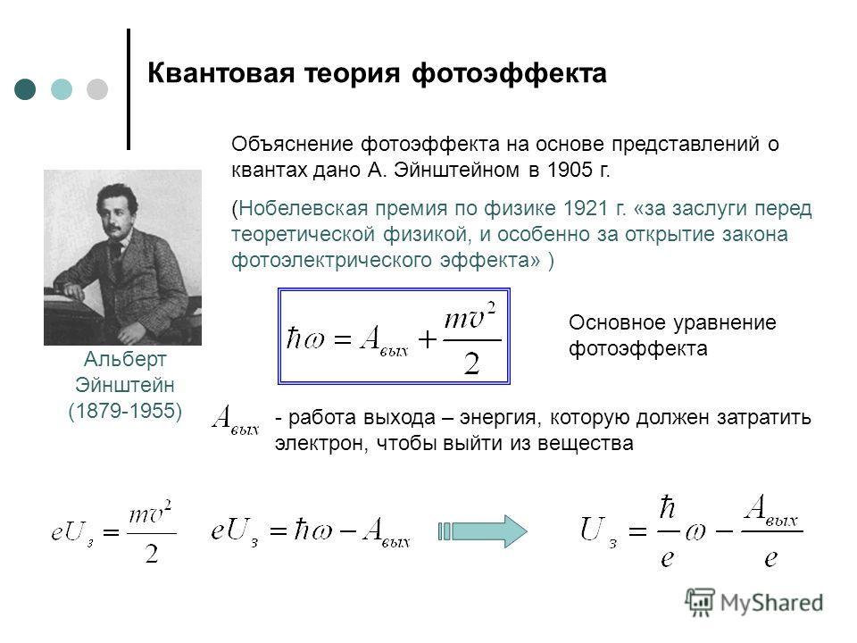 Квантовая теория фотоэффекта Альберт Эйнштейн (1879-1955) Объяснение фотоэффекта на основе представлений о квантах дано А. Эйнштейном в 1905 г. (Нобелевская премия по физике 1921 г. «за заслуги перед теоретической физикой, и особенно за открытие зако