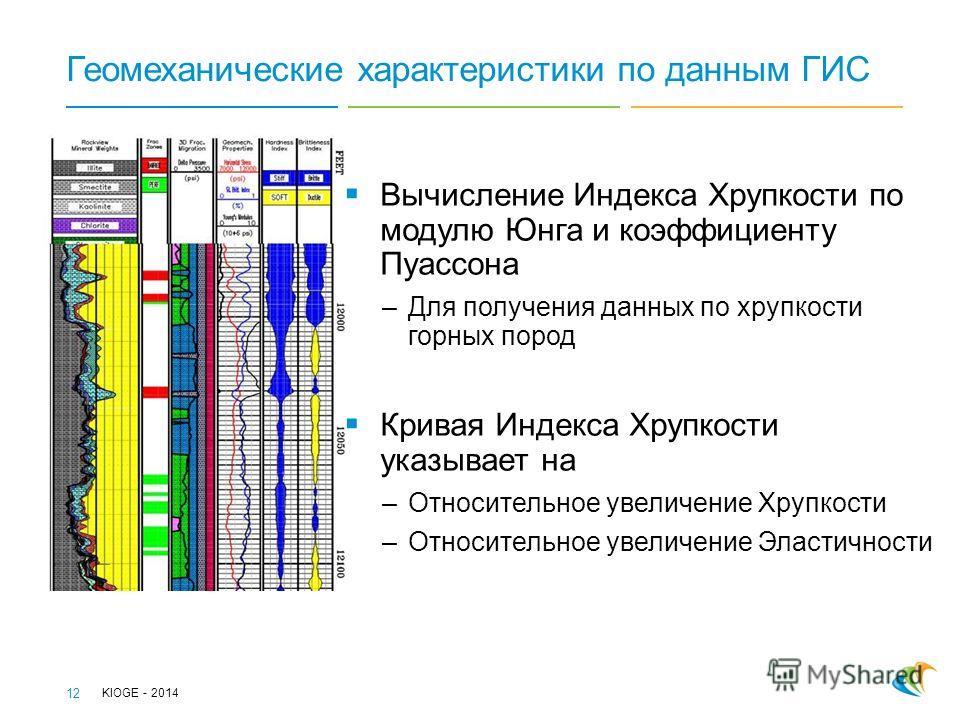 Геомеханические характеристики по данным ГИС Вычисление Индекса Хрупкости по модулю Юнга и коэффициенту Пуассона –Для получения данных по хрупкости горных пород Кривая Индекса Хрупкости указывает на –Относительное увеличение Хрупкости –Относительное