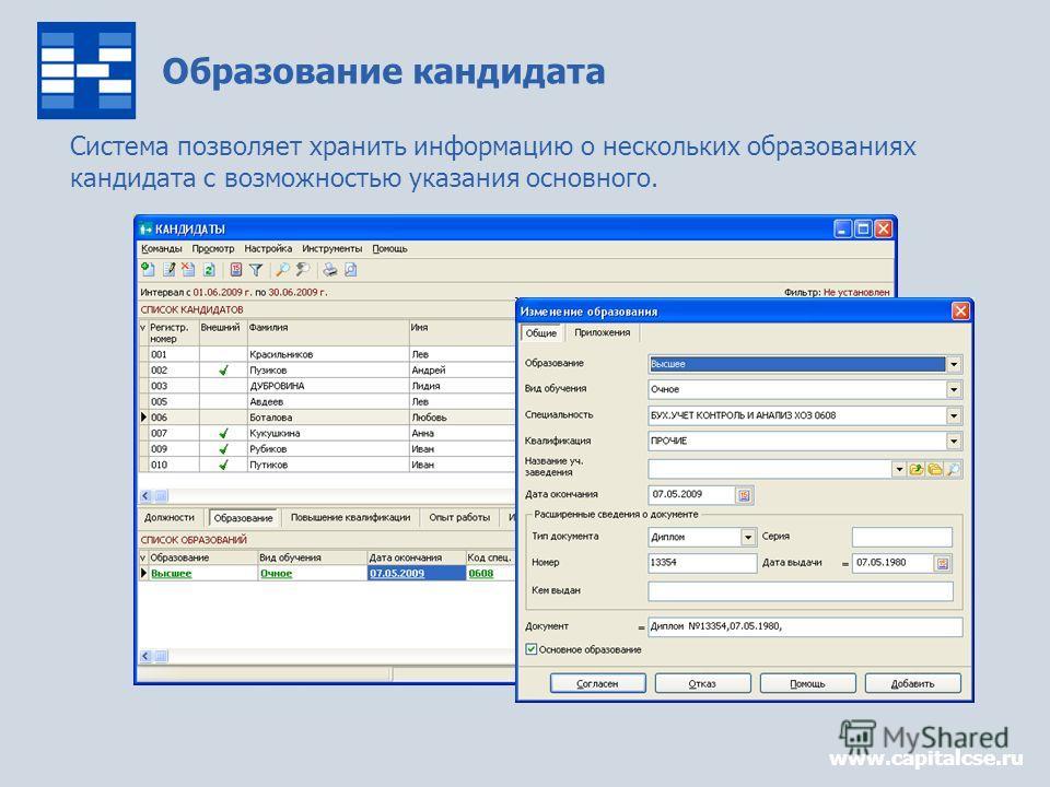 Образование кандидата www.capitalcse.ru Система позволяет хранить информацию о нескольких образованиях кандидата с возможностью указания основного.