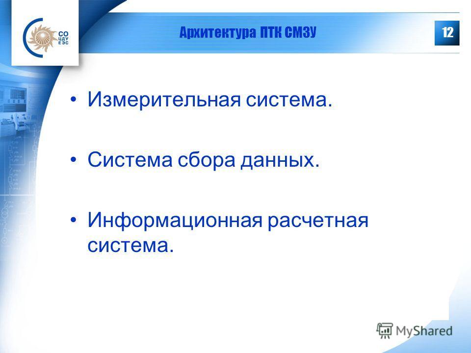 12 Архитектура ПТК СМЗУ Измерительная система. Система сбора данных. Информационная расчетная система.