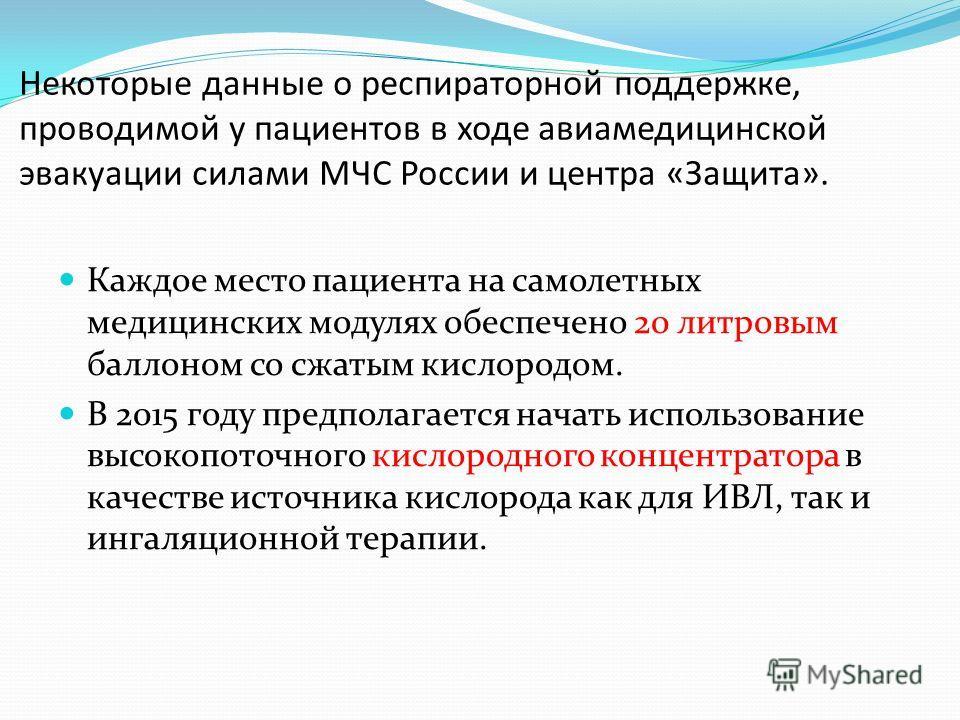 Некоторые данные о респираторной поддержке, проводимой у пациентов в ходе авиамедицинской эвакуации силами МЧС России и центра «Защита». Каждое место пациента на самолетных медицинских модулях обеспечено 20 литровым баллоном со сжатым кислородом. В 2