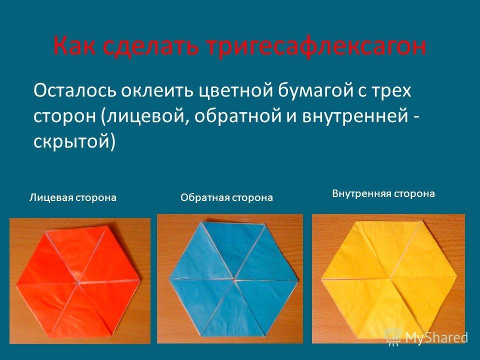 Как сделать тригесафлексагон Осталось оклеить цветной бумагой с трех сторон (лицевой, обратной и внутренней - скрытой) Лицевая сторона Обратная сторона Внутренняя сторона