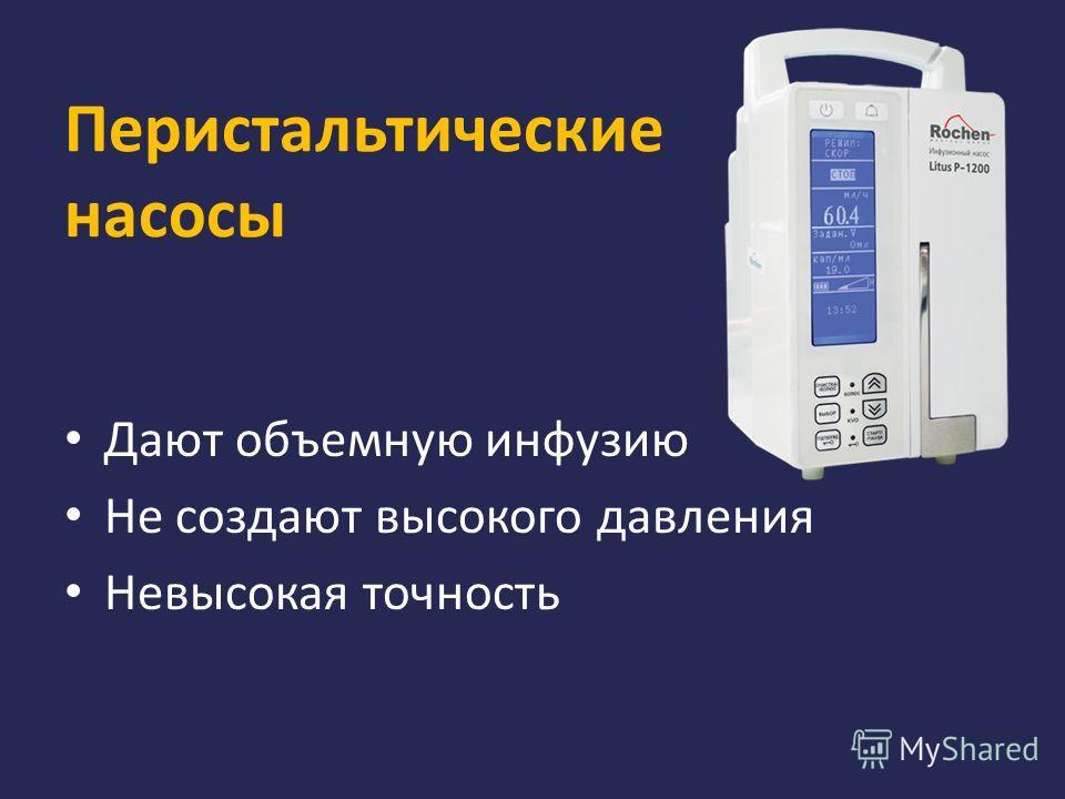 Перистальтические насосы Дают объемную инфузию Не создают высокого давления Невысокая точность