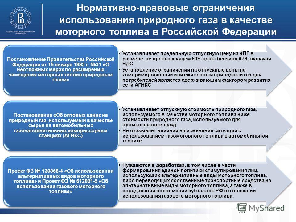Нормативно-правовые ограничения использования природного газа в качестве моторного топлива в Российской Федерации Устанавливает предельную отпускную цену на КПГ в размере, не превышающем 50% цены бензина А76, включая НДС Установление ограничений на о