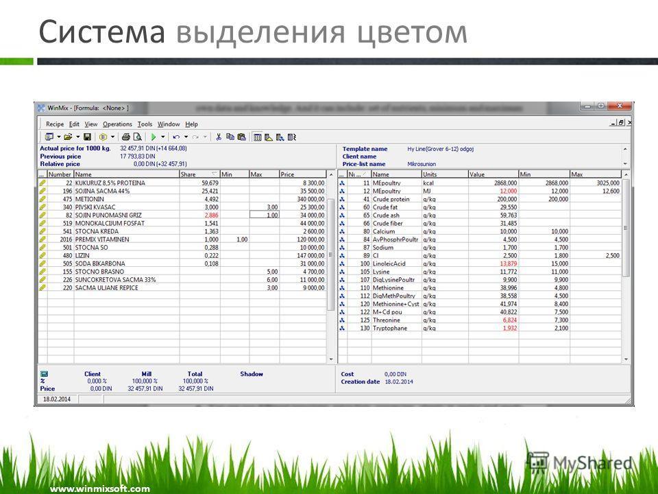 Система выделения цветом www.winmixsoft.com